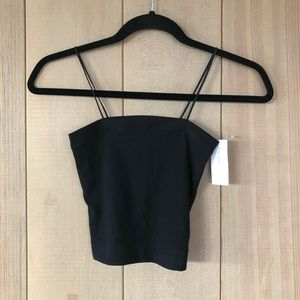 American Eagle Ribbed Black Bungee Thin Strap Tank